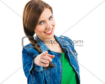 Cute woman pointing