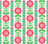 Finnish inspired seamless folk art pattern - Scandinavian, Nordic style