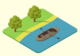 wooden boat vector isometric