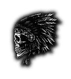 skull indian chief hand drawing style