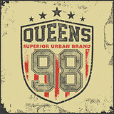 vintage queens typography t-shirt graphics