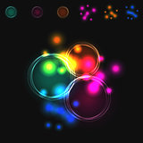 Abstract vector blurred colorful intersecting circles.