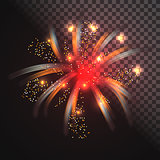 Festive red firework vector with glowing sparkles.