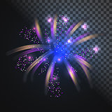 Festive blue firework vector with glowing sparkles.