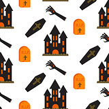 Halloween castle vector seamless pattern.
