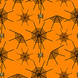 Halloween party spider net orange vector pattern.