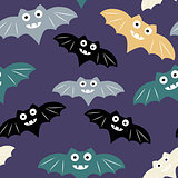 Halloween seamless pattern with colorful bat