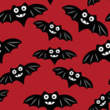 Halloween seamless pattern with black bat