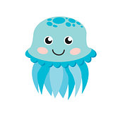 Cute happy jellyfish cartoon character sea animal vector illustration.
