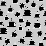 Tea or coffee cups on gray background
