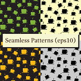 Tea or coffee cups seamless vector patterns set with coffee beans or corns.