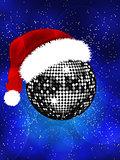 Christmas disco ball with Santa hat