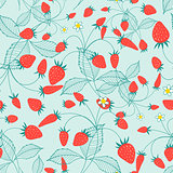 Seamless pattern of ripe strawberries