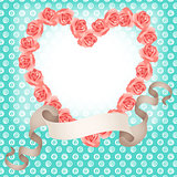 Roses shaped heart frame with ribbon banner background