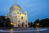 Naval St. Nicholas Cathedral in Kronstadt at night