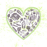 Ink hand drawn veggies in heart shape