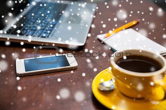 close up of smartphone, coffee cup and laptop