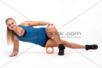 Fitness woman training isolated on white background
