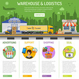 Warehouse and logistics infographics