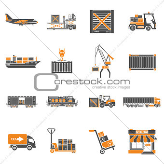Cargo Transport and Packaging Icon Set