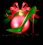 green red shoe and festive ball
