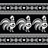 Seamless Polish monochrome folk art pattern with roosters