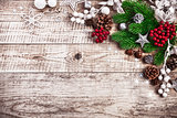 Christmas festive background with pinecone balls greeting