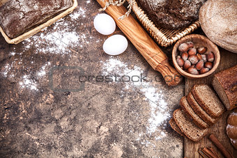 Fresh bread still life bakery product