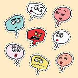 Set of comic bubbles face Emoji emoticon smiley