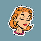 Beautiful modest retro girl head sticker label