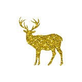 gold deer with glitter, silhouette, isolated, vector illustration