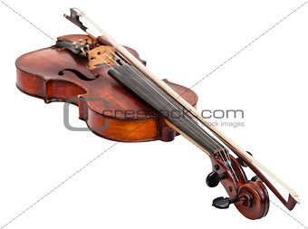 old fiddle with bow isolated on white