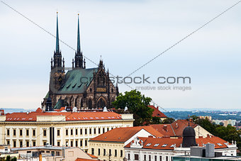 Brno skyline with Cathedral of St Peter and Paul