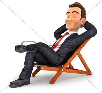 3d businessman relaxing in a deck chair