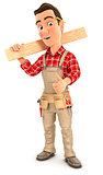 3d handyman carrying wooden plank on shoulder