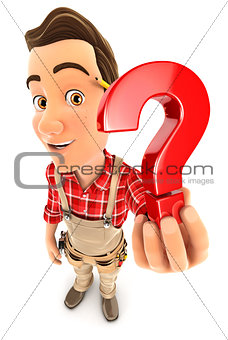 3d handyman holding a question mark icon