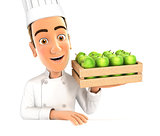 3d head chef holding wooden crate of apples