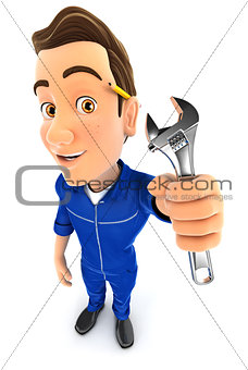 3d mechanic holding adjustable wrench