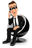 3d security agent sitting in a round chair