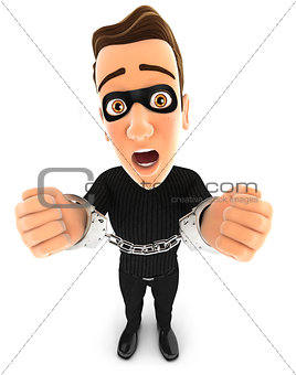 3d thief under arrest and handcuffed