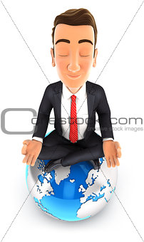 3d businessman doing yoga on top of the earth