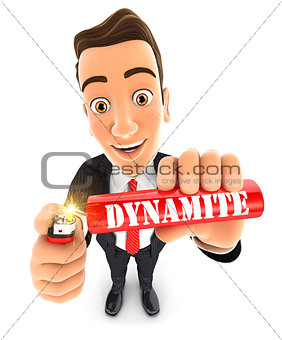 3d businessman lighting a stick of dynamite