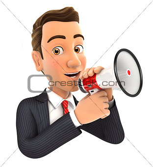 3d businessman talking into megaphone