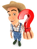 3d farmer holding a question mark icon