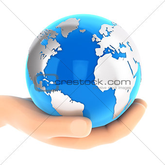 3d hand holding blue earth