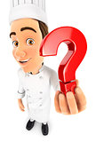 3d head chef holding a question mark icon