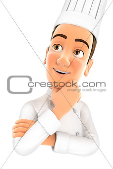 3d head chef thinking