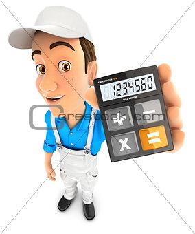 3d painter holding calculator