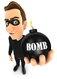 3d thief holding a bomb