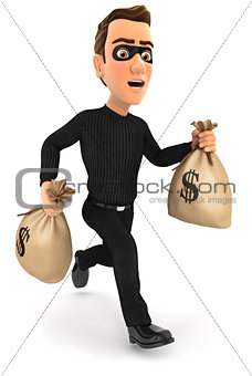 3d thief running with bags of money
